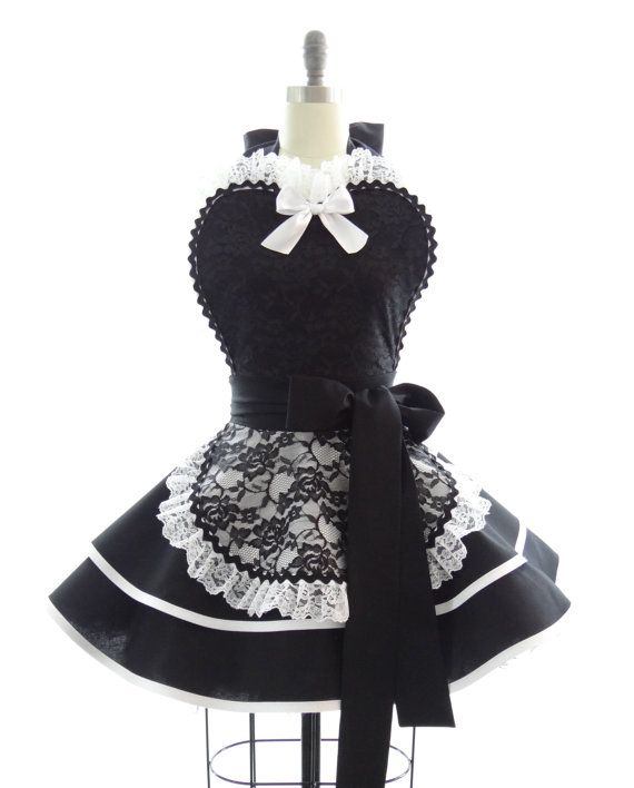 oooo la la!!Retro Apron - French Maid Sexy Womans Aprons - Vintage Apron Style - French Maid Pin up Bridal Lace Rockabilly Cosplay Costume via Etsy