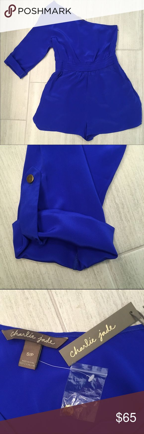 "NWT Charlie Jade one shoulder silk romper Stunning blue Charlie Jade one sleeve silk romper                                                                        🌟Size- Women's S 🌟Flat Measurements- 16.5"" bust 30"" from top of shoulder to hem 🌟Material- 100% Silk 🌟Condition- NWT Charlie Jade Other"