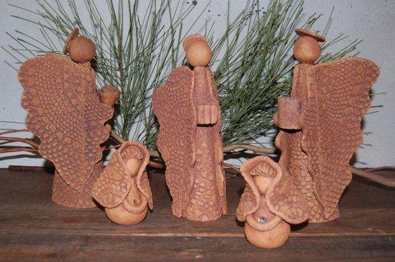 Vintage+Nativity+Creche++Clay++6+Piece++Jeni+BABIN++by+VaniTeaz,+$145.00