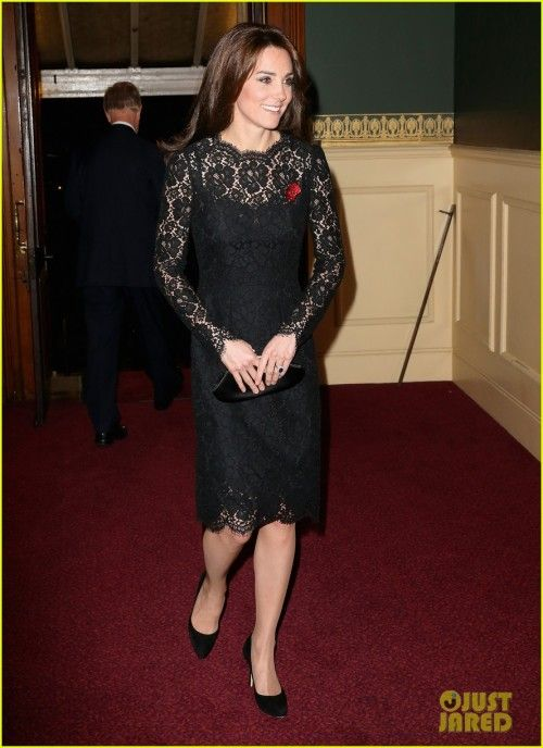 Kate Middleton at Annual Festival of Remembrance : Kate looked lovely in a black lacy Dolce & Gabbana dress with matching Jimmy Choo heels, Anya Hindmarch clutch and Buckley poppy brooch. Her hair and makeup was fine. Very pretty!