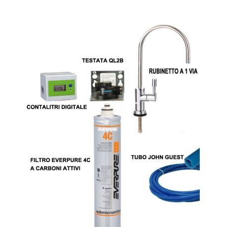 Sistema di Filtrazione Everpure completo con filtro 4C, rubinetto a 1 via e contalitri digitale