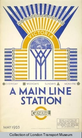 1920s advertising poster for London Victoria station from the London Transport Museum collection.