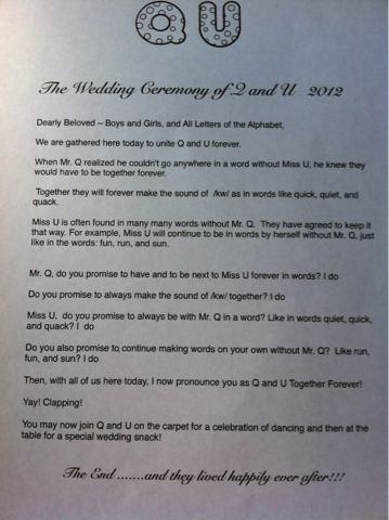 "Blooming in Kinder""garden"": A Kindergarten Story: The Wedding of Q and U"