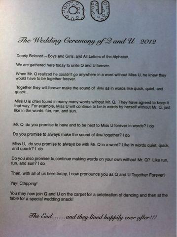 "Blooming in Kinder""garden"": A Kindergarten Story: The Wedding of Q and U"