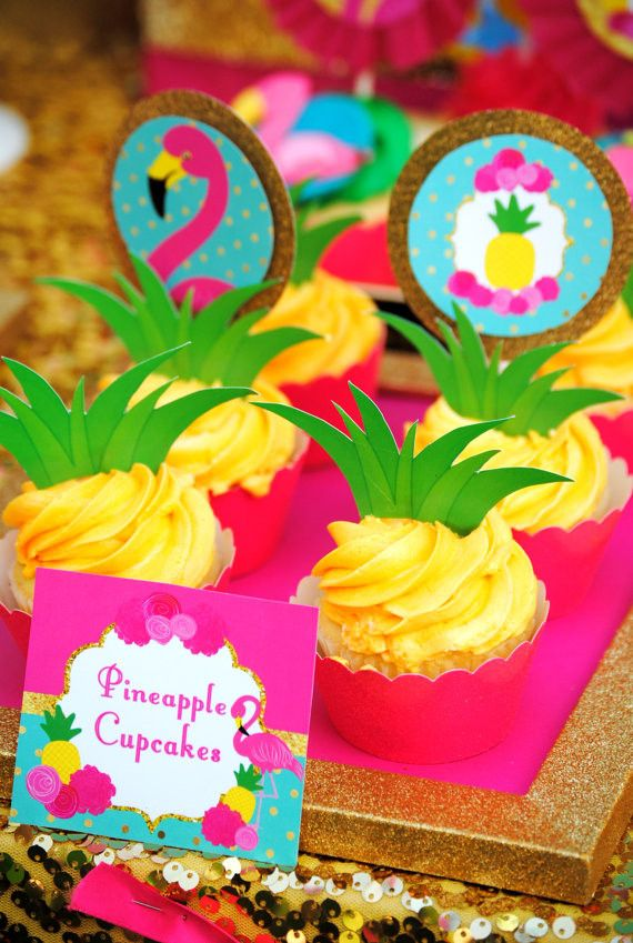 FLAMINGO Party - PINEAPPLE TOPPERS - Flamingo Printables - Flamingo Birthday - Pineapple - Luau Party