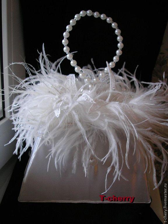 Купить Свадебная сумочка - белый, свадебная сумочка, лилии, перья, авторский…