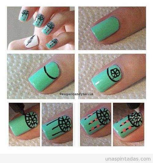 How to do dream catcher nails - turquoise green polish + nail art pens