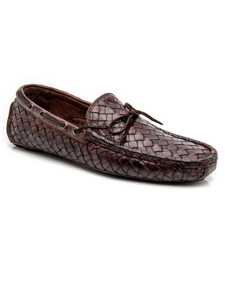 Trask Bourbon Riddick Buffalo calfskin leather upper Woven, dip-dyed buffalo calfskin Tubular moccasin construction Rounded toe Vibram rubber outsole Leather lining and insole Cushioned insole Made in Italy