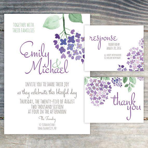 Lilac Wedding Invitation Suite DIY Purple Violet от EventBerry