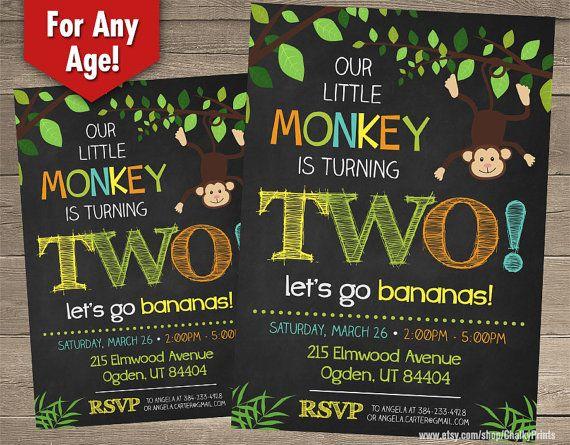 Monkey Birthday Invitation Monkey Invitations by ChalkyPrints