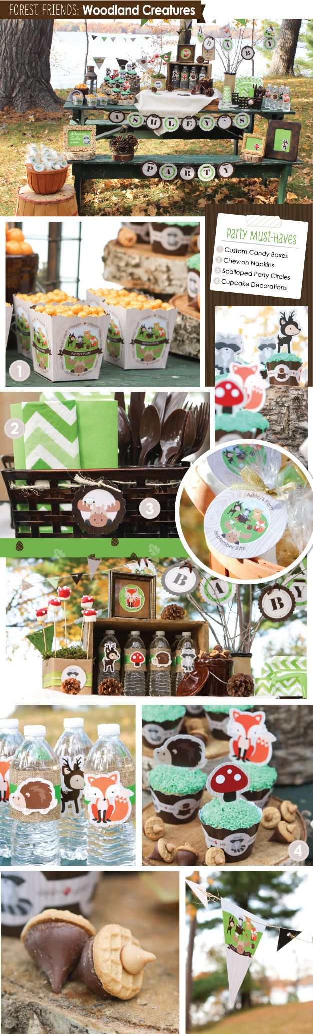 Woodland Creatures Party Inspiration - Birthday Party and Baby Shower Ideas