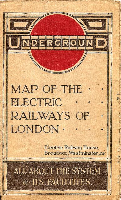 London Underground = Map of the Electric Railways of London - cover 1915  -Thank you @Melanie Kendell for this board...I hope you will check out mine, some very cool pins. I have written about the Underground Art Oisters, If interested check my board Underground Art Posters.