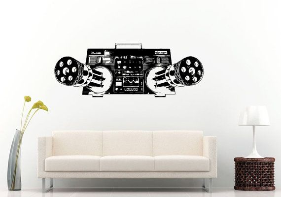Boom Box Retro Old School Music Player A-Track Cassette Tape Radio Machine Guns For Speakers Wall Decal Vinyl Sticker Mural Room Decor L982