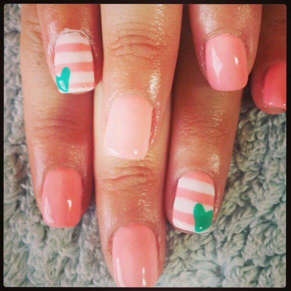 #nailart #nails #love #pink #heart#white#stripes#green#peack#nailtech
