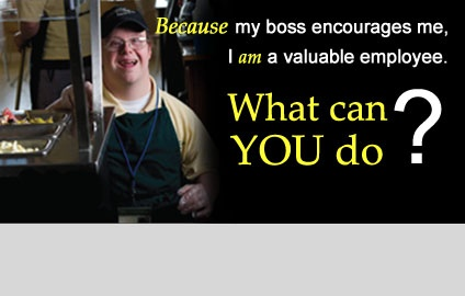 "What can YOU do? The Campaign for Disability Employment encourages positive employment for people with disabilities. Frank Stephens is a worker at Wildflour Cateres and Cafe in Virginia. He is very proud of his job and ""articulates very well the value of meaning employment."""