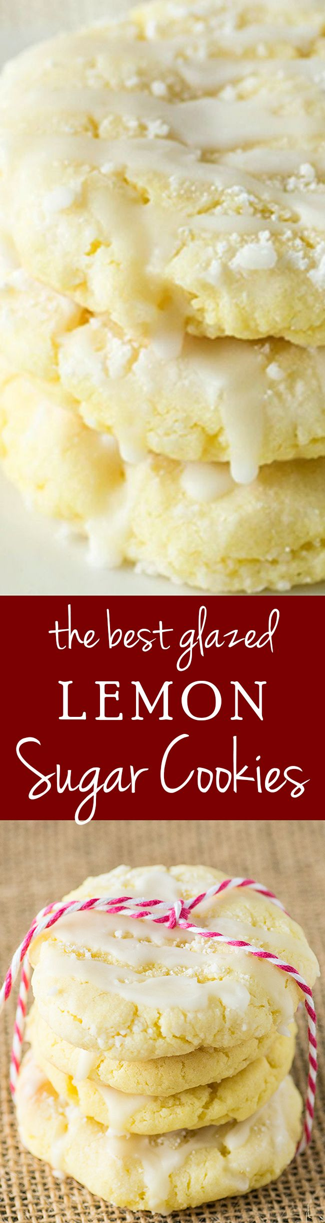 Chewy glazed Lemon Sugar Cookies.  These cookies have amazing reviews and continue to be a top pinterest winner! #cookie #recipe #lemon #holiday