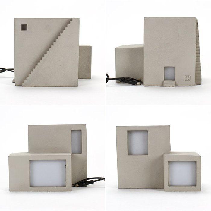 テーブルランプ照明ライト家型模型LEDおうちミニチュアフロアランプコンクリートおしゃれかわいいARCHILAMPCube立方体デスクライト送料無料