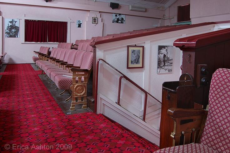 Interior, Lobethal cinema in Centennial Hall, entry stairs. Art Deco theatre. Adelaide Hills, South Australia.