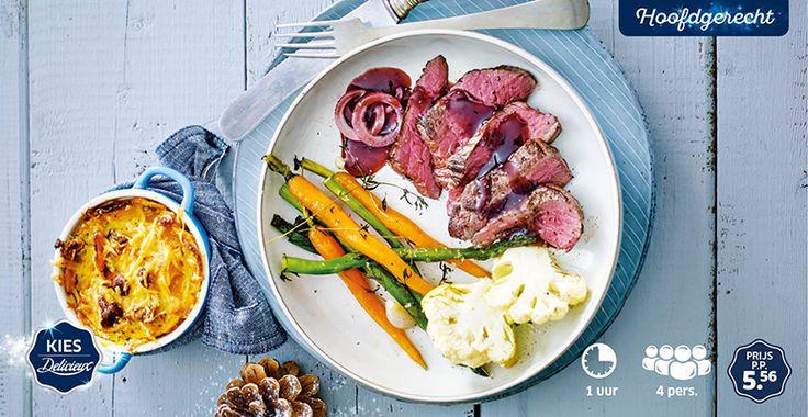 Hertenbiefstuk met rode wijnjus, mini groenten en zoete aardappelgratin met noten en kaas #Delicieux #Kerst #Lidl