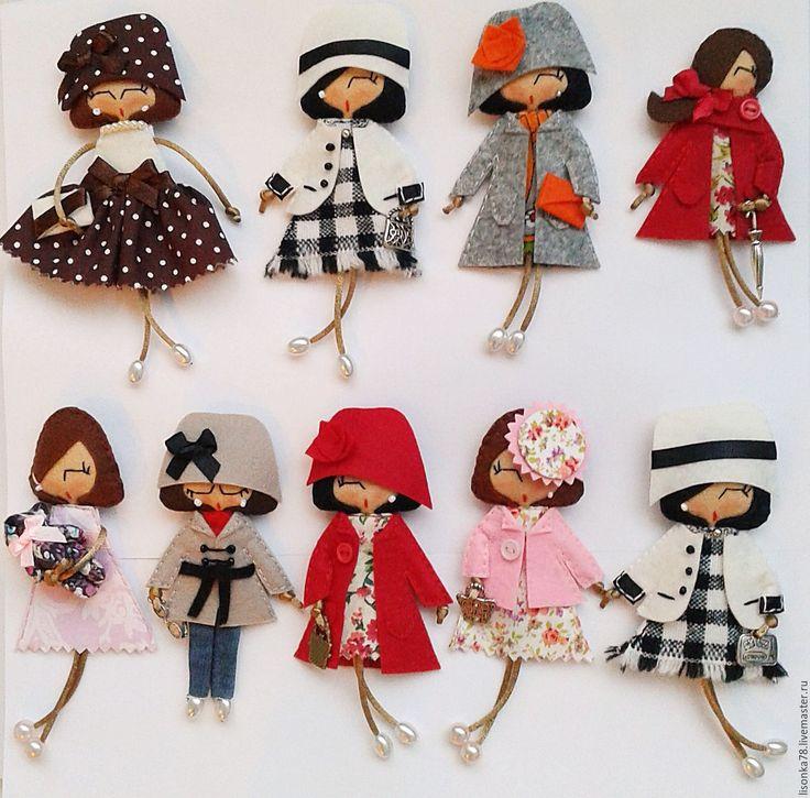 Купить Брошь-куколка из фетра - черный, брошка куколка, броши из фетра, броши на…