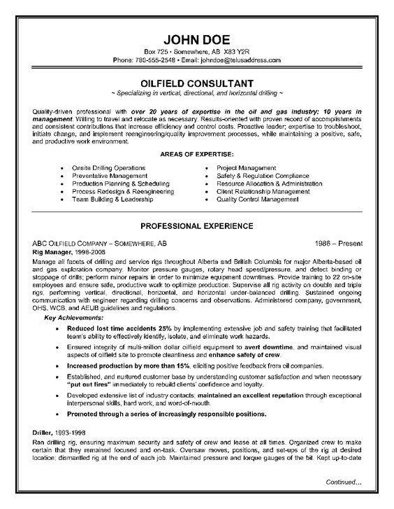 The 8 best RESUME sample images on Pinterest Best resume format - oil rig chef sample resume