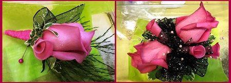 米国テキサス州ヒューストン「レインフォレスト・フラワーズ」のプロムのブートニア&ブレスレット。A boutonniere &a wrist corsage by Rain Forest Flowers in The Woodlands, Texas, USA.