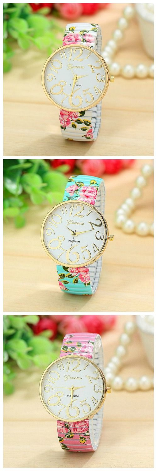 Fashion Geneva Platinum Big Gold Number Dial Springed Flower Print Silicone Analog Wristwatch