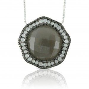 18kt White Gold Moonstone Pendant with Black Diamonds & White Topaz