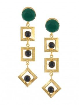 Green and Black Onyx Gold-plated Earrings