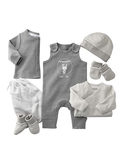 *Happy Price 6-Piece Newborn Outfit Set & Baby Bag LIGHT GREY+LIGHT TAUPE+LILAC PINK+GREY NAVY