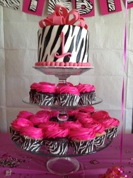 love the idea of the top cake and cupcake idea. can be any color theme.