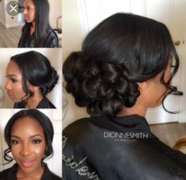 Pin By Ladina Whitfield On Wedding Hair Black Bridesmaids Hairstyles Hair Styles Black Brides Hairstyles