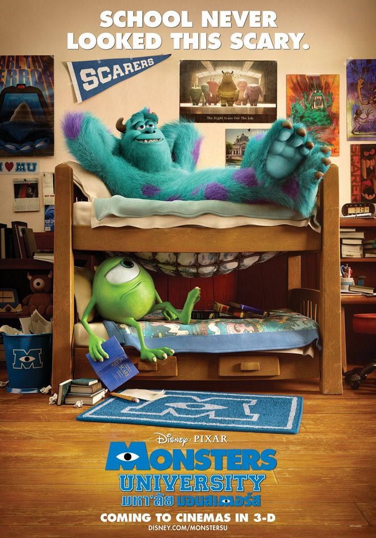 Dorm Room at Monsters U: event inspiration: pennants, posters, bunk beds, Dorm room theme: hot plate, books, all nighters, coffee