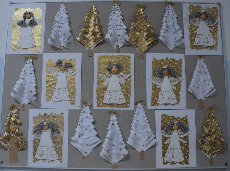 Andělé a stromky z balicího papíru 2016