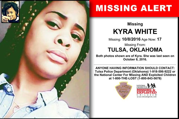 KYRA WHITE, Age Now: 17, Missing: 10/08/2016. Missing From TULSA, OK. ANYONE HAVING INFORMATION SHOULD CONTACT: Tulsa Police Department (Oklahoma) 1-918-596-9222.