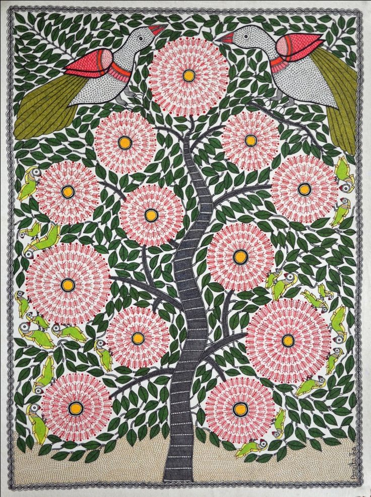 "Kalpvriksha (The tree of life) | Madhubani Painting by Amrita Jha. 28""X20"" inches, acrylic on paper."