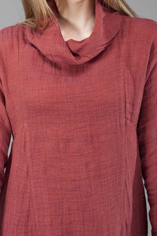 Red summer tunic linen tunic linen dress mini summer