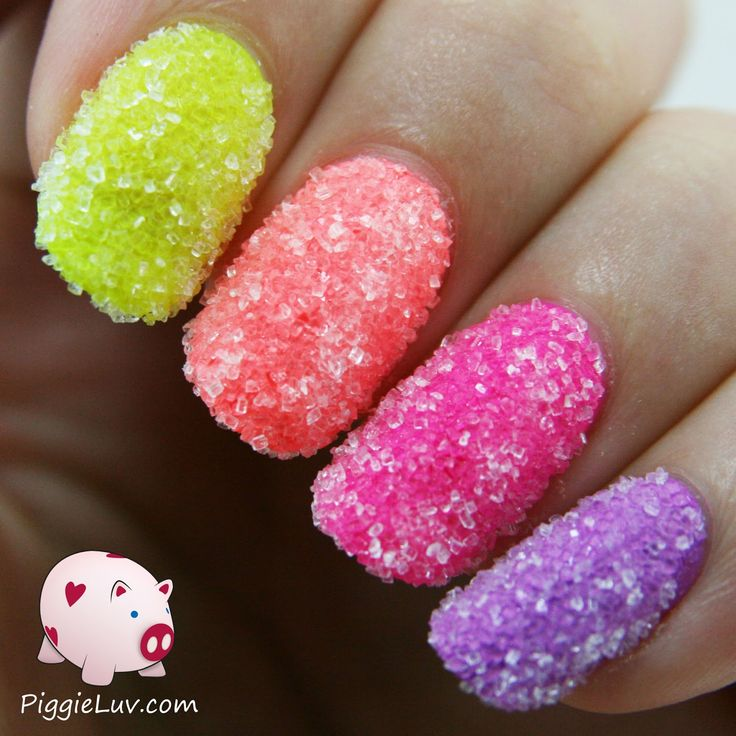 Springtime makes me feel funny so I made sugar crush nails! I just dipped my wet nails in sugar to make them look like candy. It's so much fun to do!