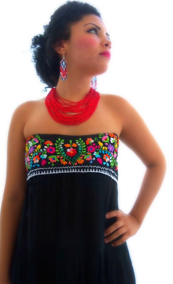 Flor Azteca Artisanal Handmade Mexican Embroidered Pure Cotton Maxi Dress