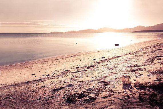 ocean photography golden coastal print large nautical decor 11x14 12x18 16x24 20x30 beach scene rose vintage sunset warm amber brown sunset via Etsy