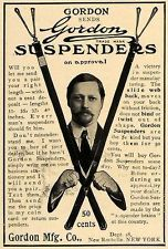 1906 Ad Gordon Suspenders Manufacturing Company Fashion - ORIGINAL ADVERTISING