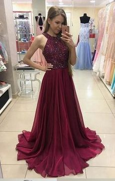 Charming O-Neck Beading Prom Dress,Long Prom Dresses,Cheap Prom Dresses, Evening