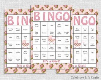 60 Pink Panda Baby Shower Bingo Cards  Printable Baby Shower