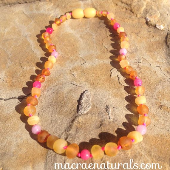 """Custom Raw Baltic Amber Teething Necklace in """"Meadow"""" by MacRaeNaturals, $32.95"""