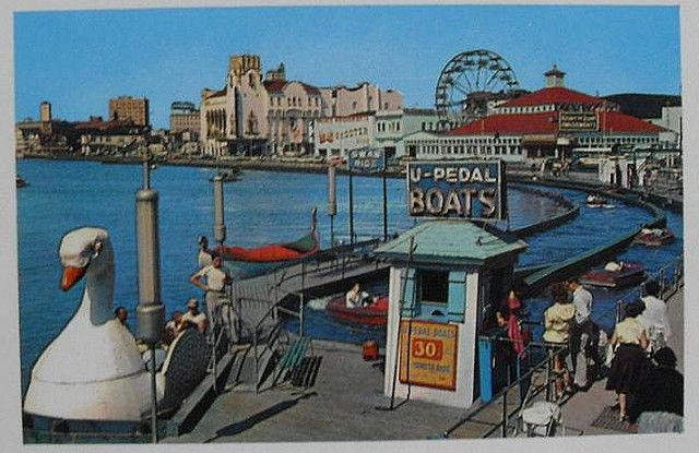 1950s Vintage Postcard ASBURY PARK SWAN RIDE Wesley Lake MINI PLASTICHROME Palace Amusements Behind CASINO NEW JERSEYClaudia Fulshaw
