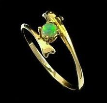 #Opal Ring 5489 Delightful bright green solid crystal opal set in 14k yellow gold Dolphin ring. https://opalmine.com/product/opal-ring-11-3/