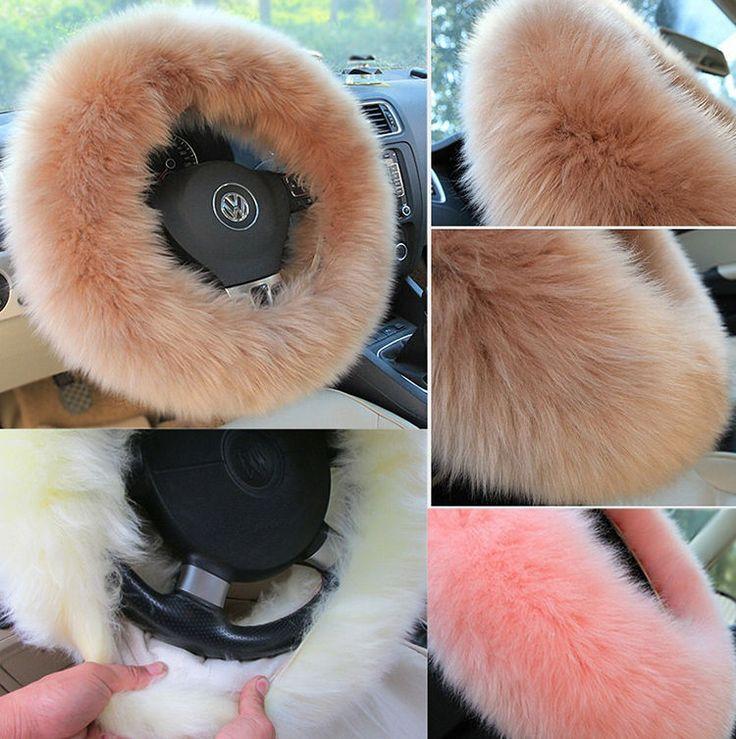 3pcs Winter Steering Wheel Covers Wool Heated Steering Wheel Cover Plush Covers #Unbranded