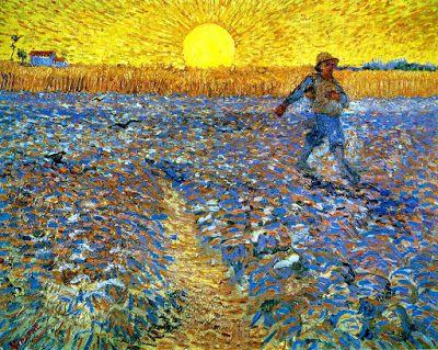 Pintando sonrisas de colores: El sembrador a la puesta de sol.
