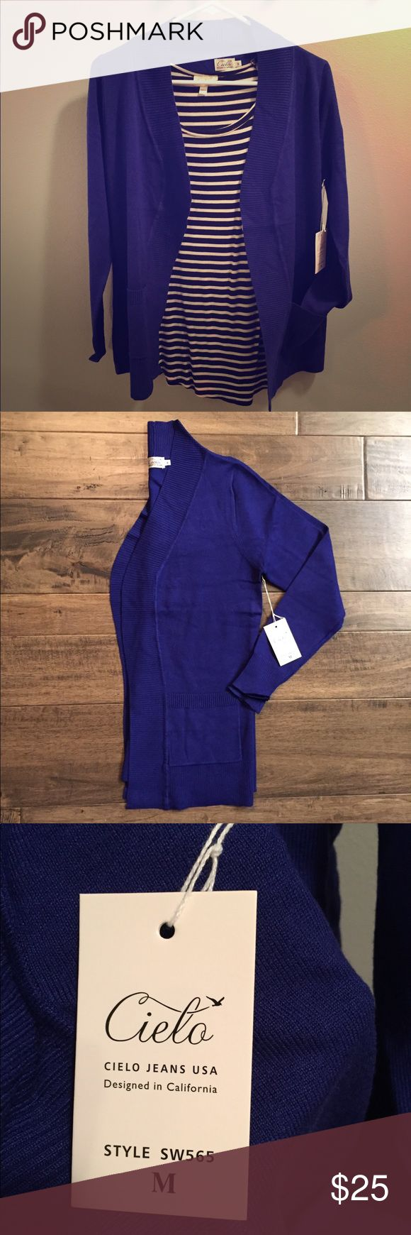Cielo Royal Blue Cardigan NWT. Cielo Royal Blue Cardigan. Front Pockets. 🌸70% Viscose 30% Nylon 🌷Pet & Smoke Free Home Cielo Sweaters Cardigans