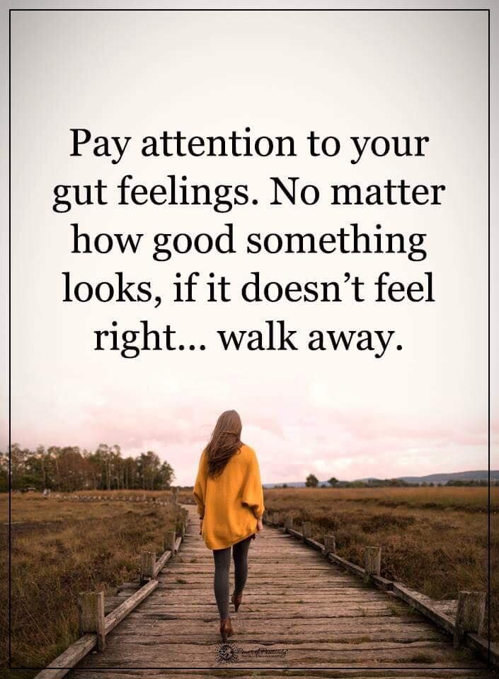Pay attention to your gut feelings. No matter how good something looks, if it doesn't feel right...walk away.  #powerofpositivity #positivewords  #positivethinking #inspirationalquote #motivationalquotes #quotes #gutfeeling #life #love